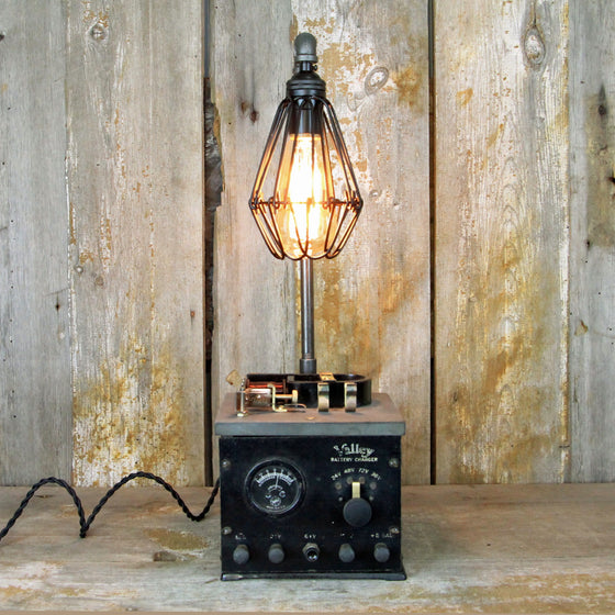 Steampunk Lamp -Industrial Table Lamp with an Interesting base - Steampunk Desk Lamp 1927 #1908 - The Lighting Works
