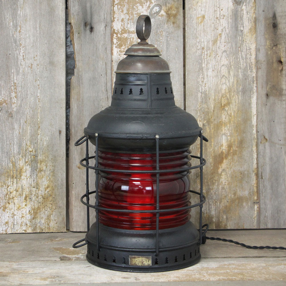 Vintage Ships Perko Anchor Table Lantern with Red Lens No.1979 - The Lighting Works