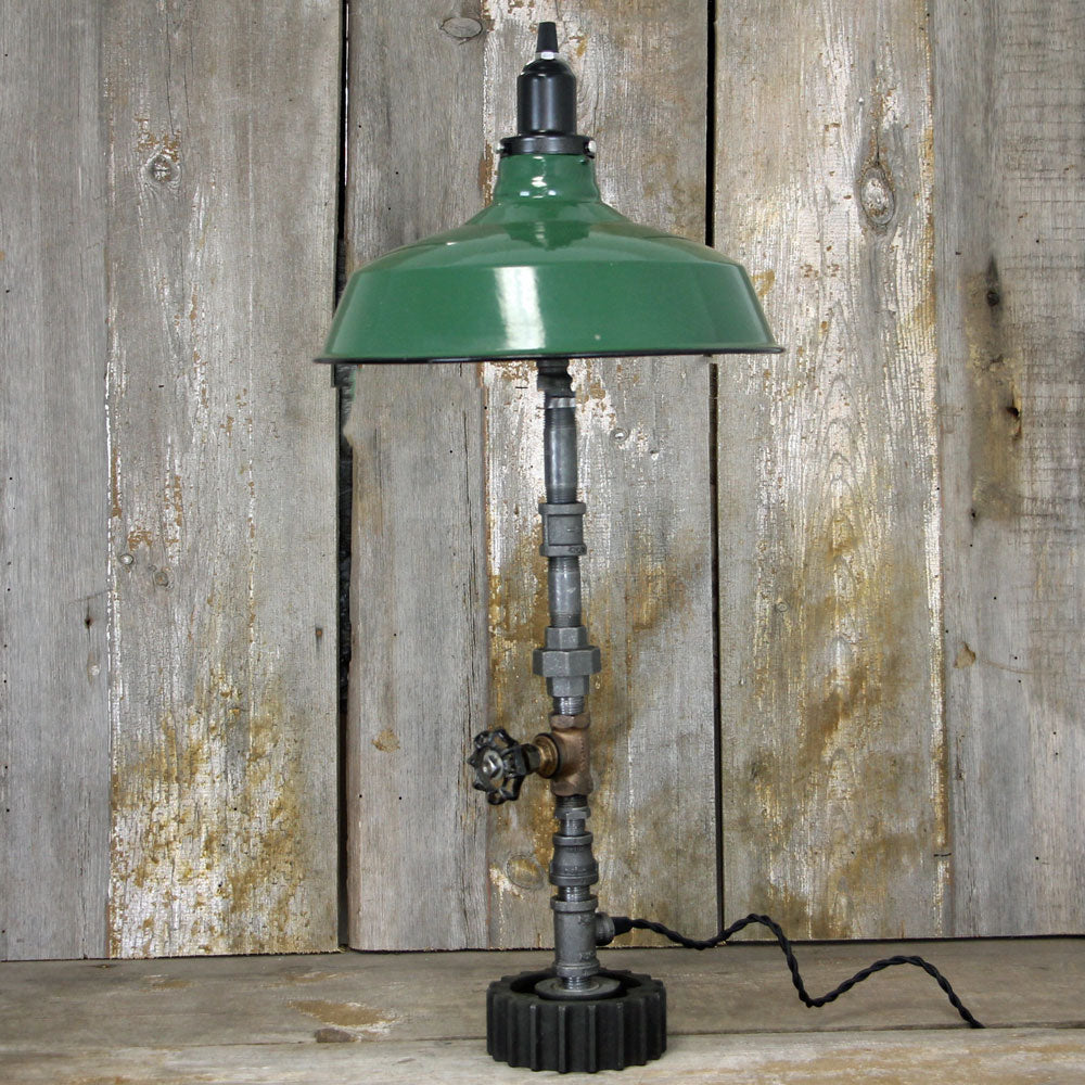 Steampunk Industrial Table Lamp with a Large Green Shade No. 1995 - The Lighting Works