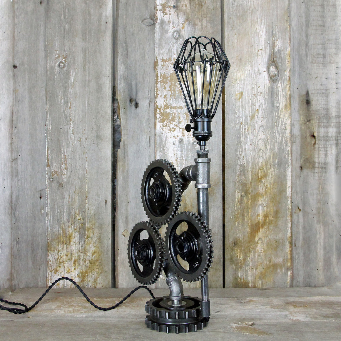 Industrial Table Lamp with Four Steampunk Gears No. 2002 - The Lighting Works