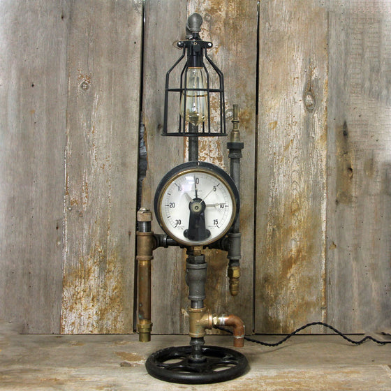 Industrial Table Lamp with a Large Gauge - Steampunk Desk Lamp #2004 - The Lighting Works