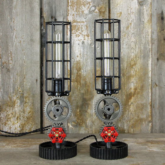Steampunk Table Lamps Edison Bulbs - Industrial Table Lamp Pair No. 2007 - The Lighting Works