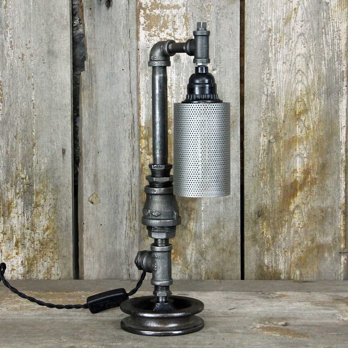 Industrial Table Lamp with a Sleek Steampunk Design No. 2012 - The Lighting Works