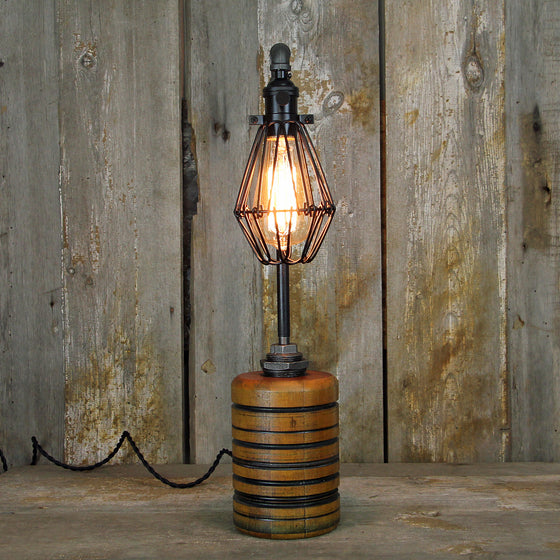 Industrial Table Lamp Wood & Steel No. 2017 - The Lighting Works