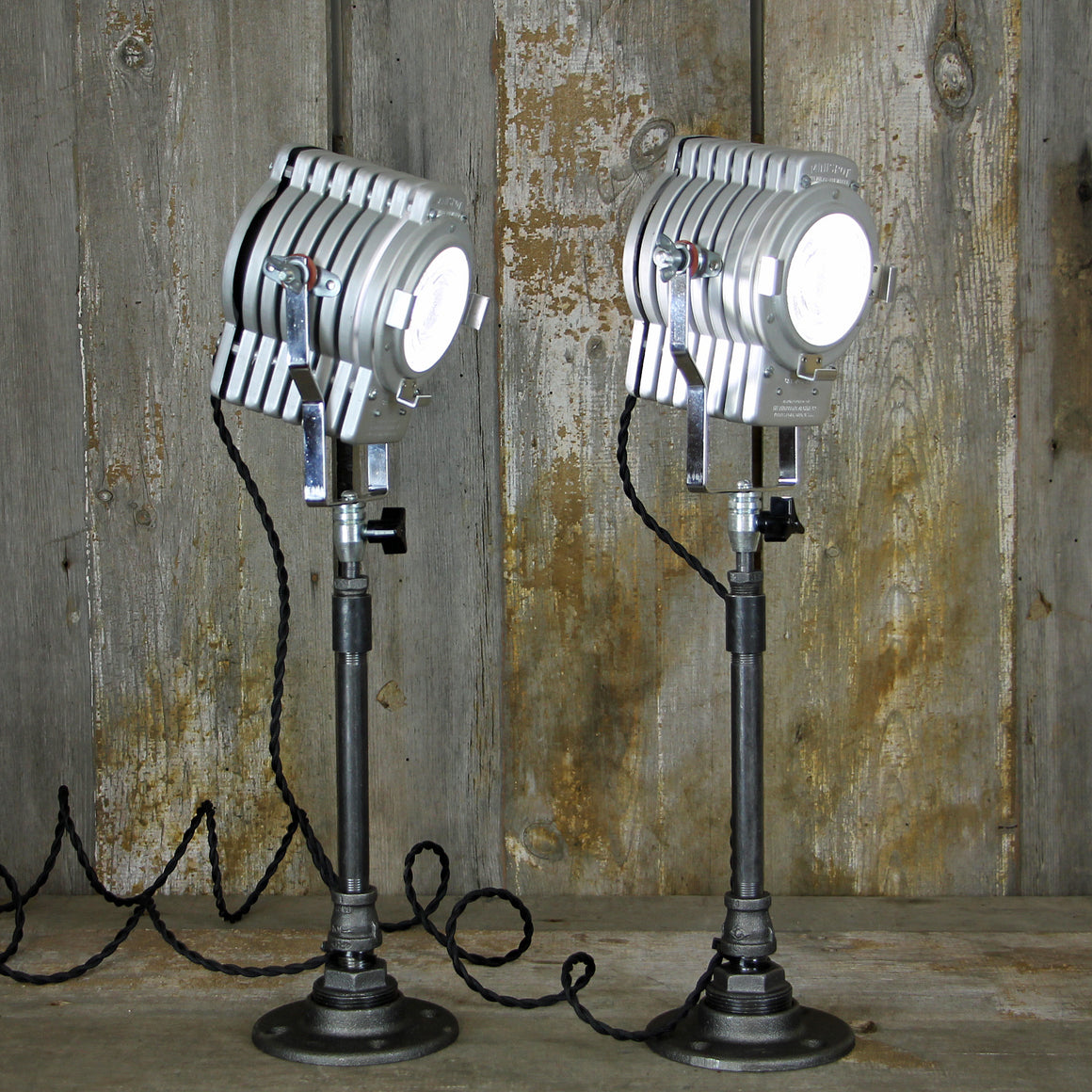 Industrial Table Lamps - Photo Spot Light Pair - No. 2018 - The Lighting Works