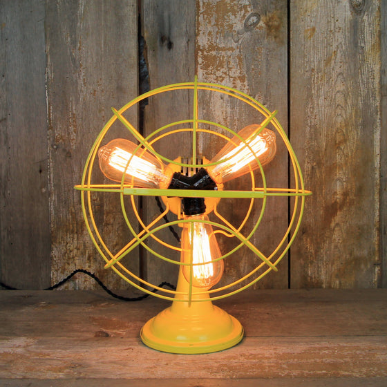 Steampunk Table Lamp with Deco Styling - Edison Bulb Fan Lamp  #225 - The Lighting Works