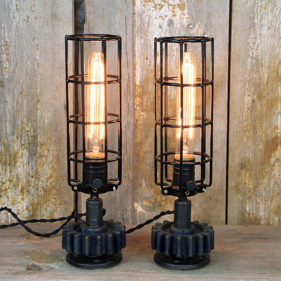 Industrial Table Lamp Pair with Edison Bulbs - Steampunk Pair #244 - The Lighting Works