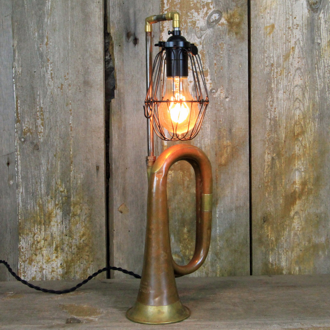 Music Lover's Desk Lamp - Bugle Table Lamp with Steampunk Style # 277 - The Lighting Works