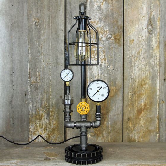 Industrial Table Lamp with a Brass Valve - Steampunk Desk Lamp #285 - The Lighting Works