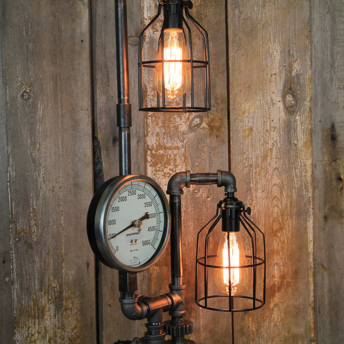 Steampunk Table Lamp with Dual Edison Lights - Steampunk Desk Lamp #286 - The Lighting Works