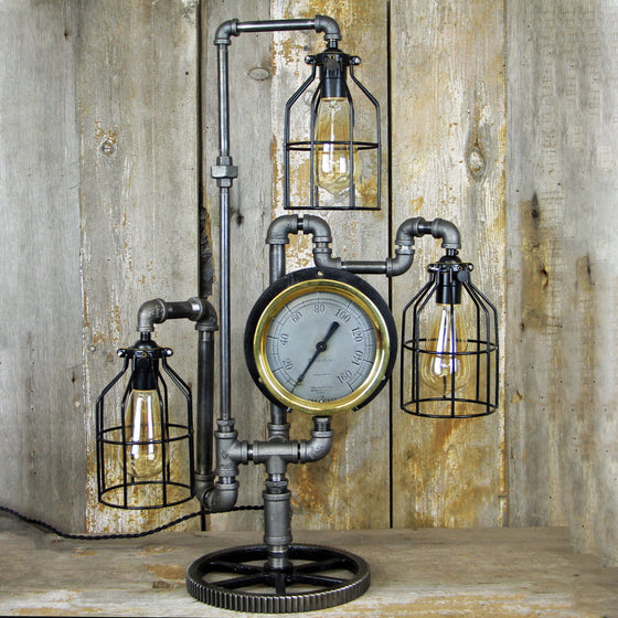 Steampunk Table Lamp - Large Brass Gauge - Three Edison Lights #287 - The Lighting Works