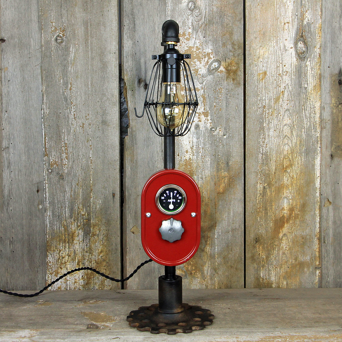 Steampunk Industrial Table Lamp with a Farmall Tractor dash #293 - The Lighting Works