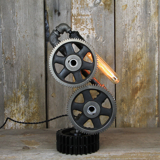 Industrial Table Lamp with Steampunk Gears - A great example of Industrial Lighting #2991 - The Lighting Works