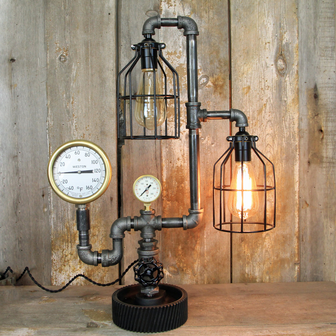 Steampunk Industrial Lamp with Two Pressure Gauges Two Edison Lights #299 - The Lighting Works