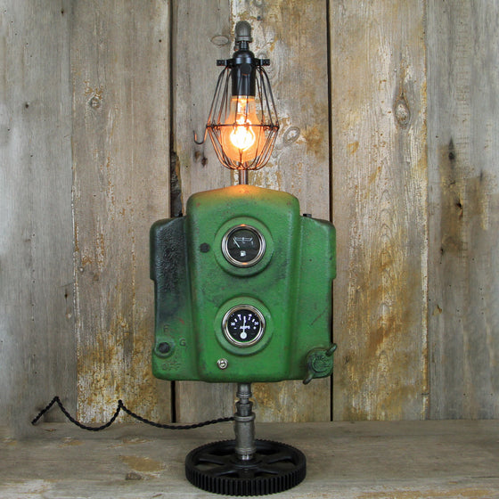 John Deere plus Steampunk Equals A Great Industrial Table Lamp #304 - The Lighting Works