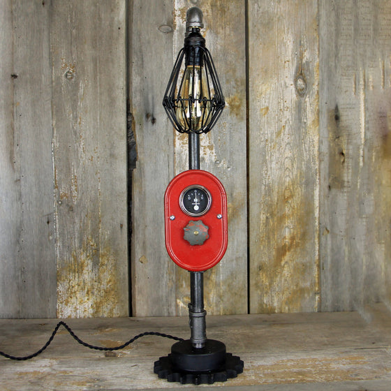 Steampunk Industrial Table Lamp with a vintage Farmall Dash and Edison Bulb - #336 - The Lighting Works