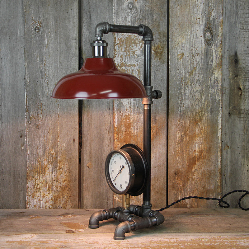 Industrial Table Lamp with Red Shade #39 - The Lighting Works