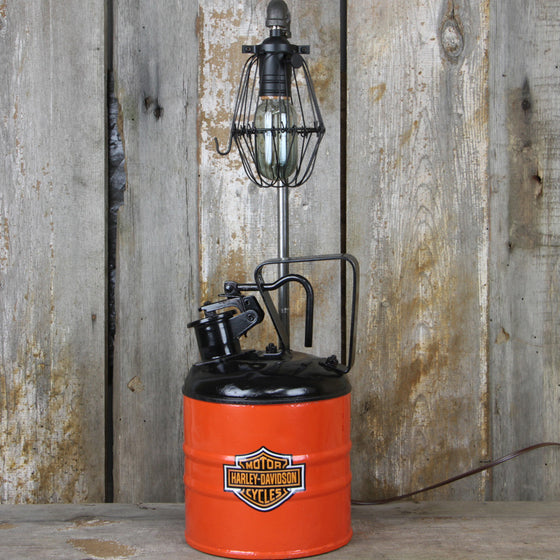 Industrial Table Lamp with Vintage Harley Davidson Colors #41 - The Lighting Works