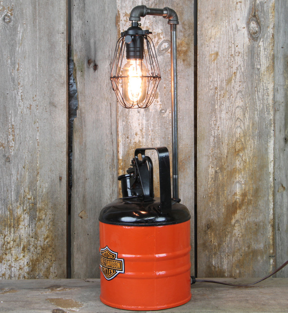 Industrial Table Lamp with Vintage Harley Davidson Colors #41