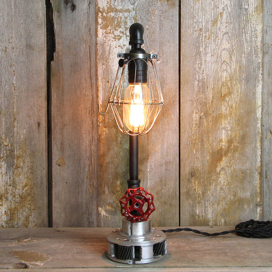 Steampunk Table Lamp Industrial Styling Red Handel & Gear Base #55