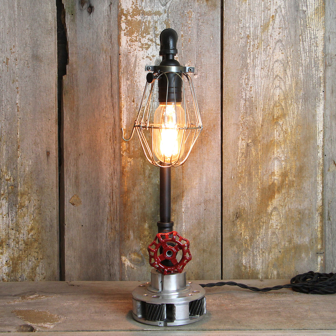 Steampunk Table Lamp Industrial Styling Red Handel & Gear Base #55 - The Lighting Works
