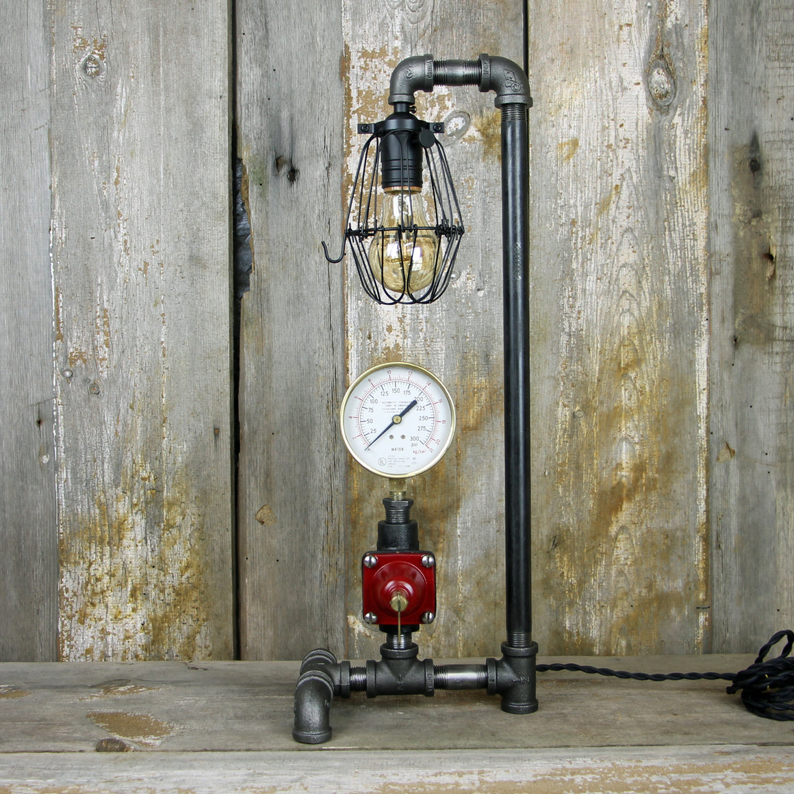 Industrial Table Lamp with a Brass Gauge & Valve #56 - The Lighting Works