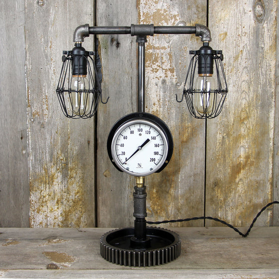 Steampunk Table Lamp with a Large Pressure Gauge and a Gear Base #62 - The Lighting Works