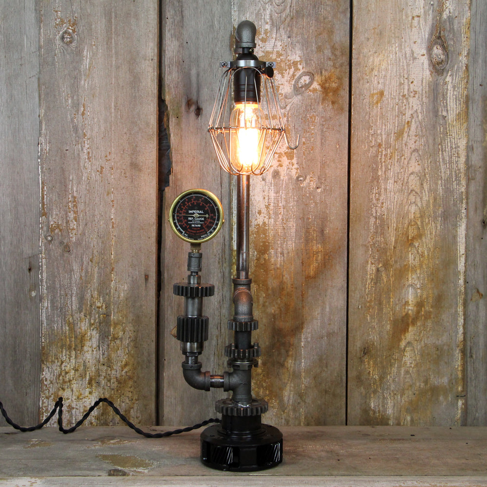 Industrial Table Lamp with a Steel Cage Shade - Steampunk Desk Lamp #65 - The Lighting Works