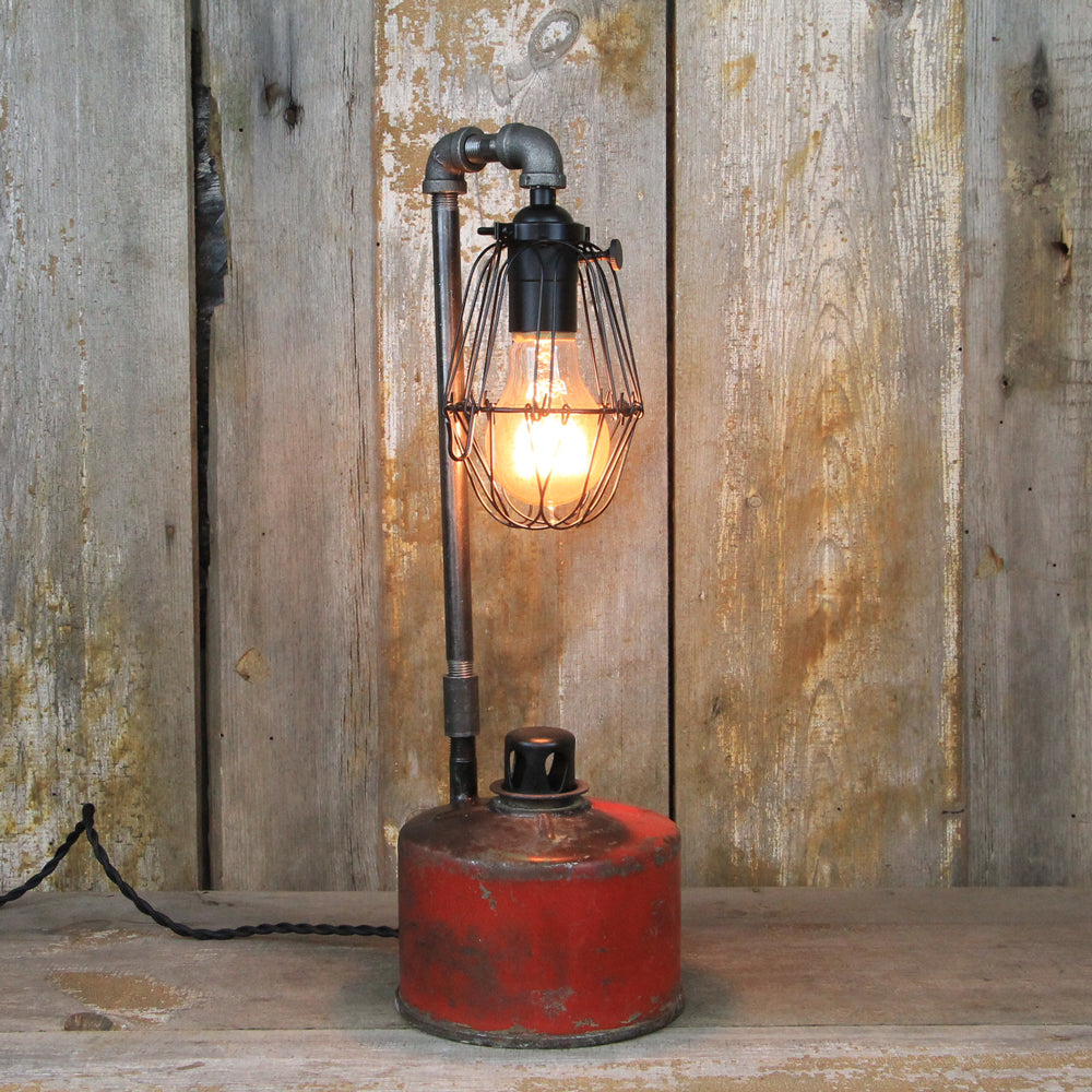 Industrial Table Lamp - Railway Smudge Pot Lamp #80 - The Lighting Works