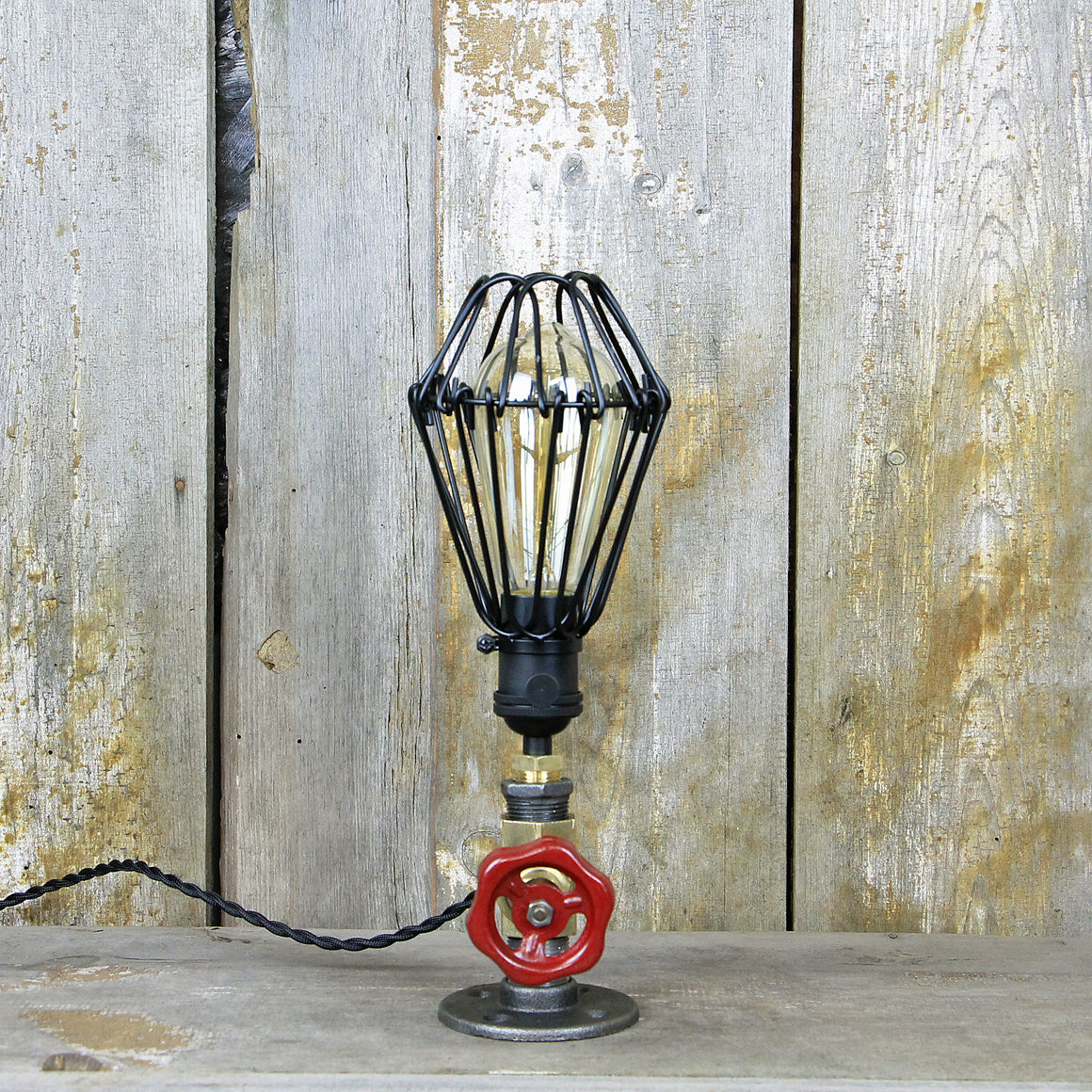 Industrial Table Lamp with a Brass Valve and Red Handle - Steampunk Desk Lamp #82 - The Lighting Works