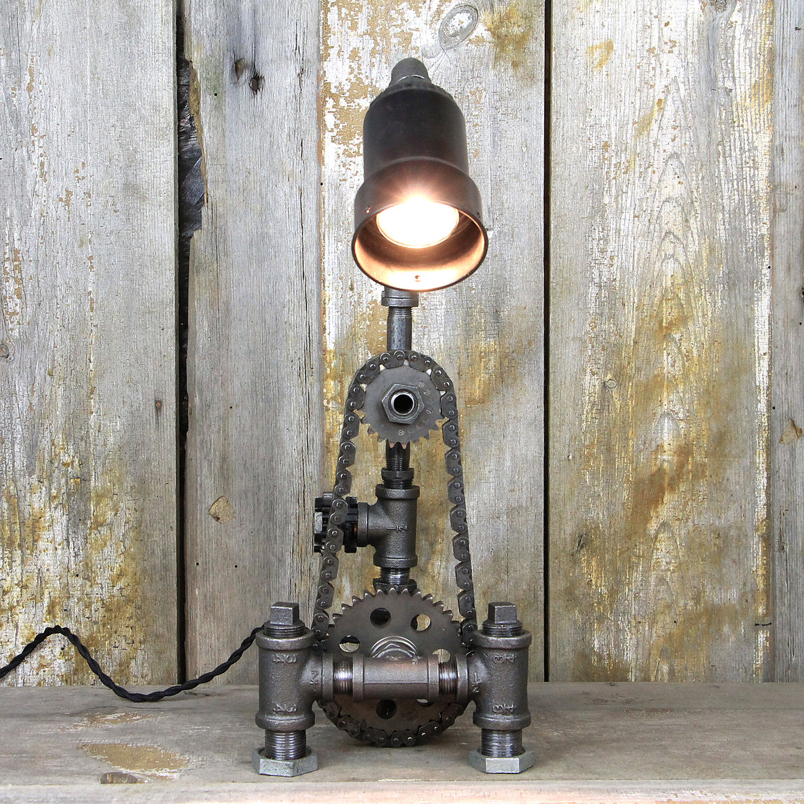 Industrial Table Lamp with Steampunk Gears & Chain - Industrial Lighting #89 - The Lighting Works
