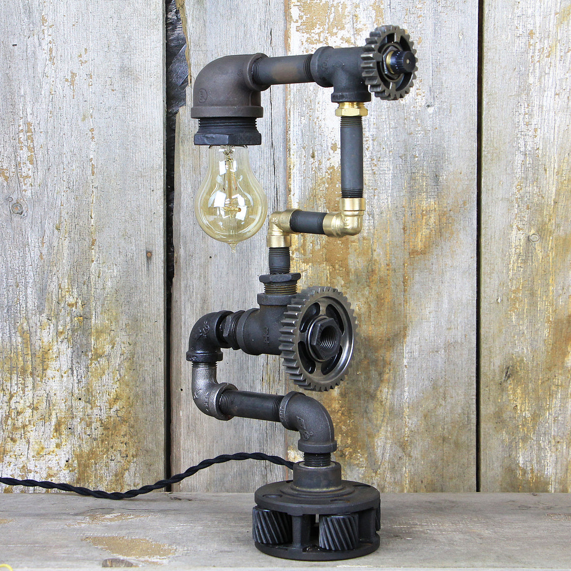 Industrial Table Lamp with Multi Color and Texture Finishes - Steampunk Desk Lamp #90 - The Lighting Works