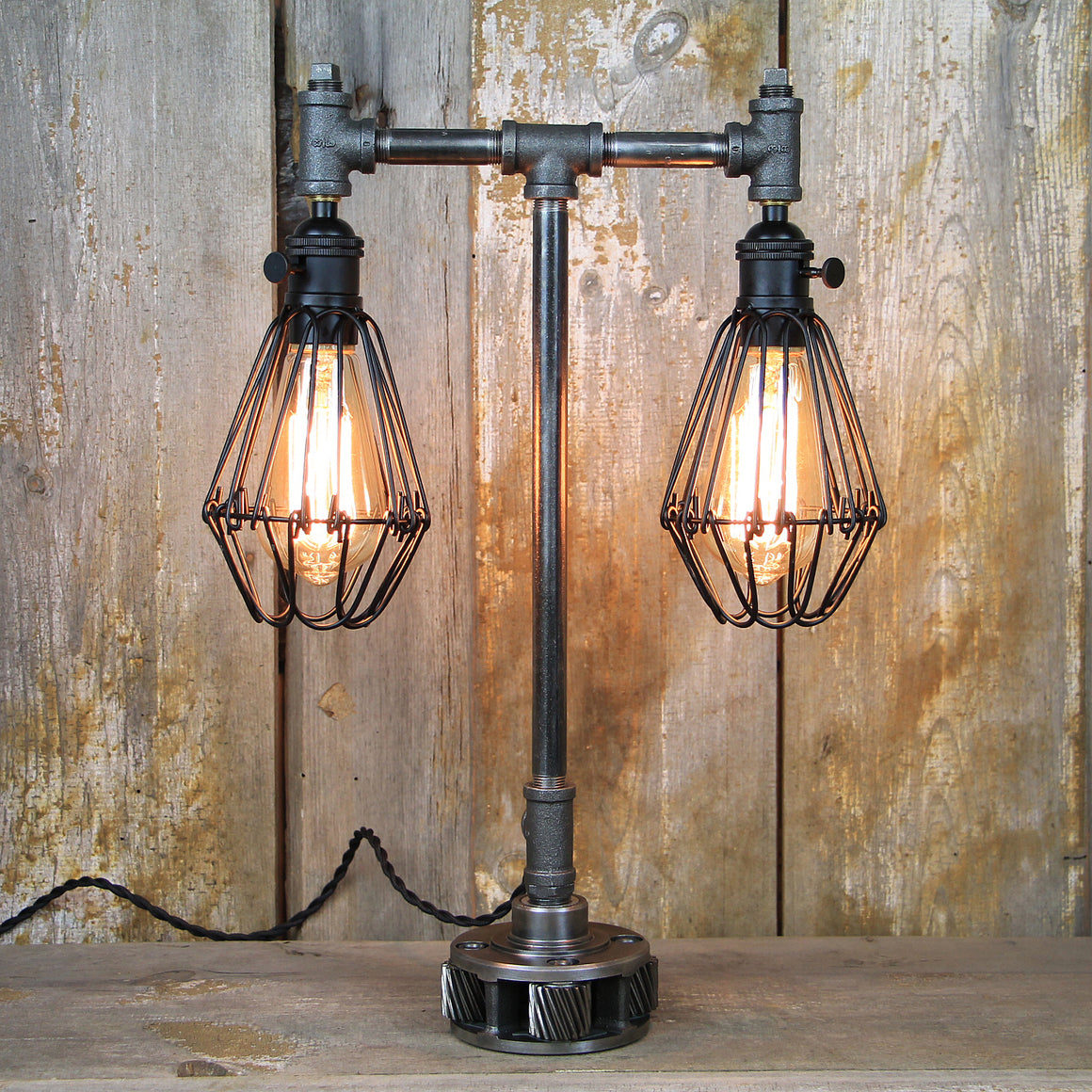 Steampunk Table Lamp with Dual Edison Lights - Steampunk Desk Lamp #92 - The Lighting Works