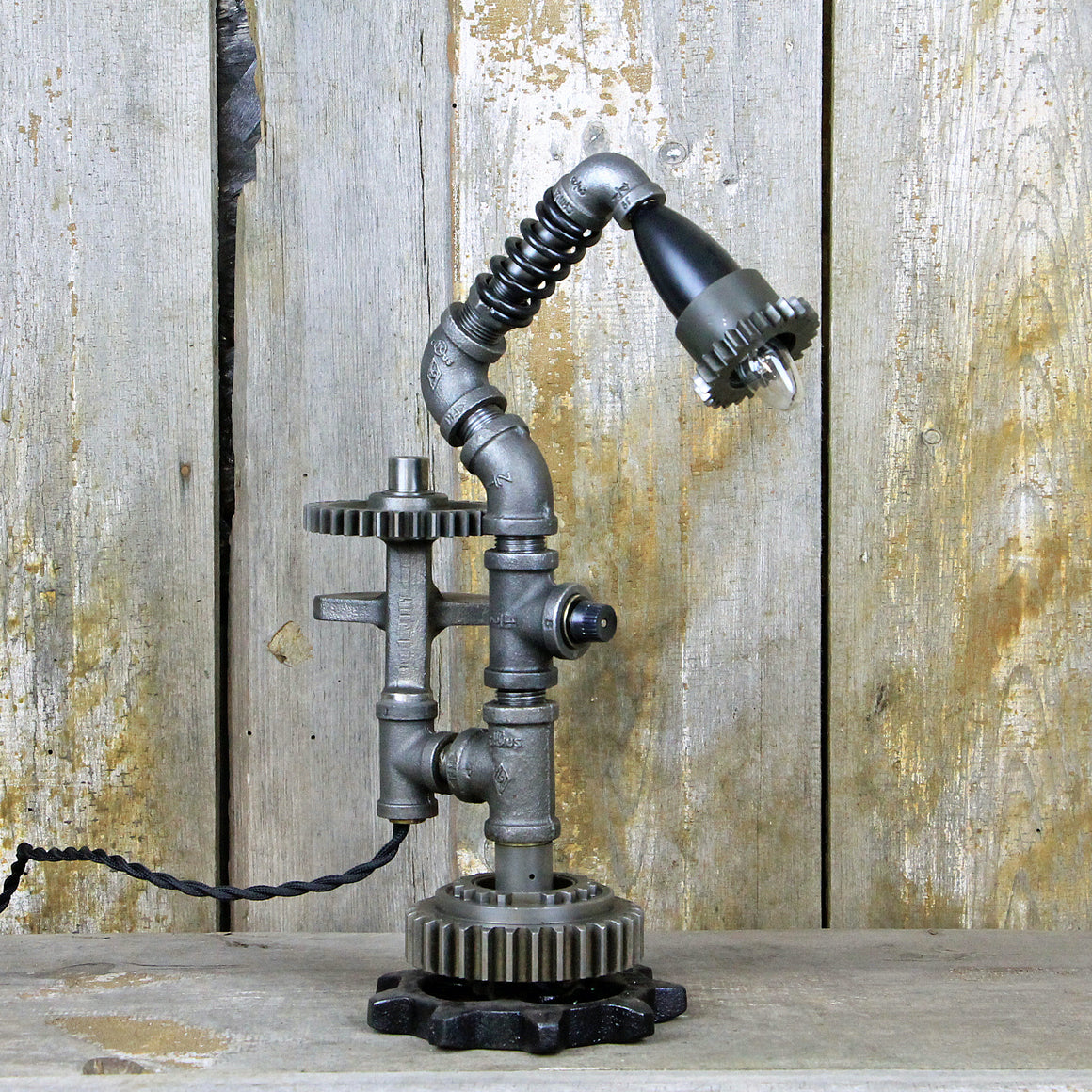 Industrial Table Lamp with Steampunk Gears - A Great Example of Industrial Lighting #94 - The Lighting Works