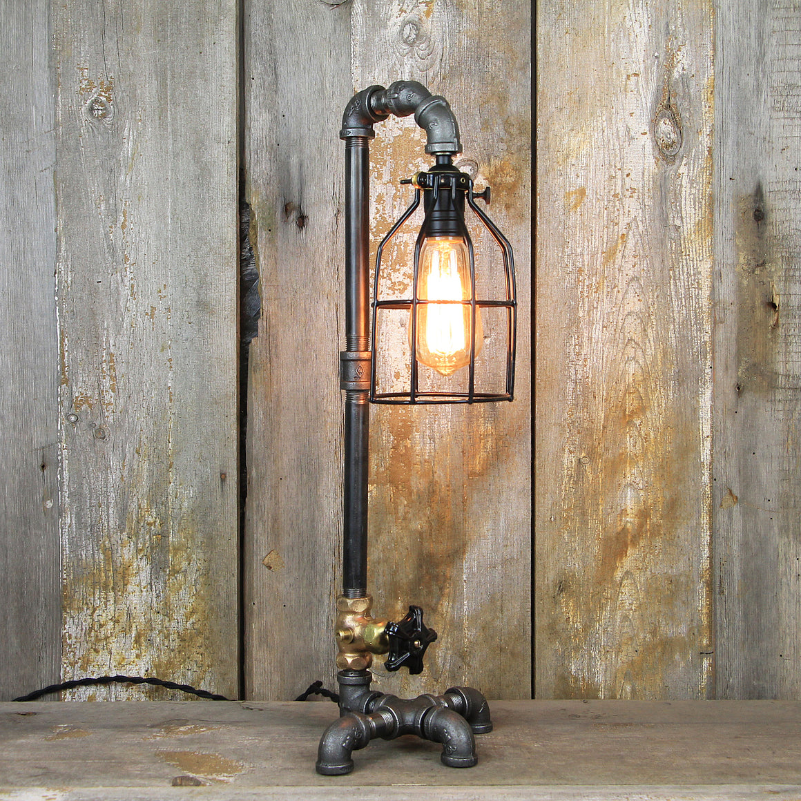 Industrial Table Lamp in a Lamp Post Style with an Edison Bulb - Steampunk Desk Lamp #98 - The Lighting Works