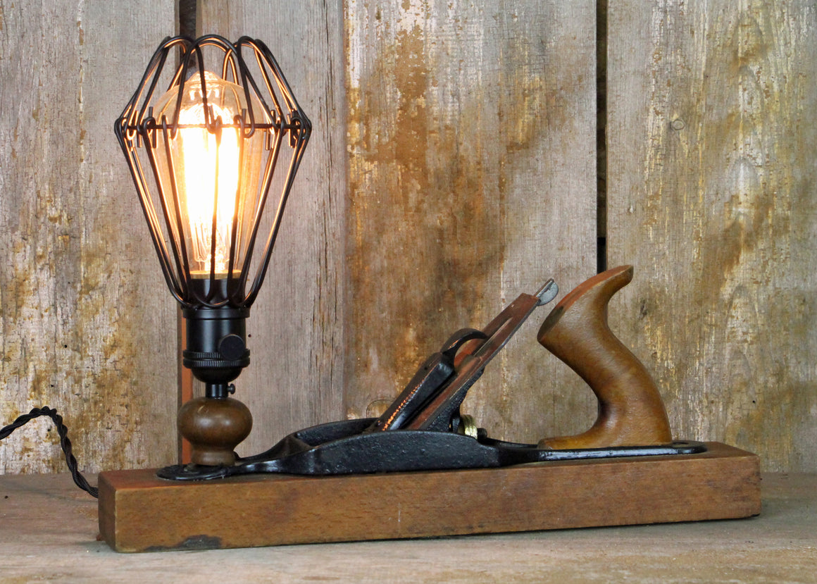 Carpenters Vintage Wooden Table Lamp, Desk Lamp #124 - The Lighting Works