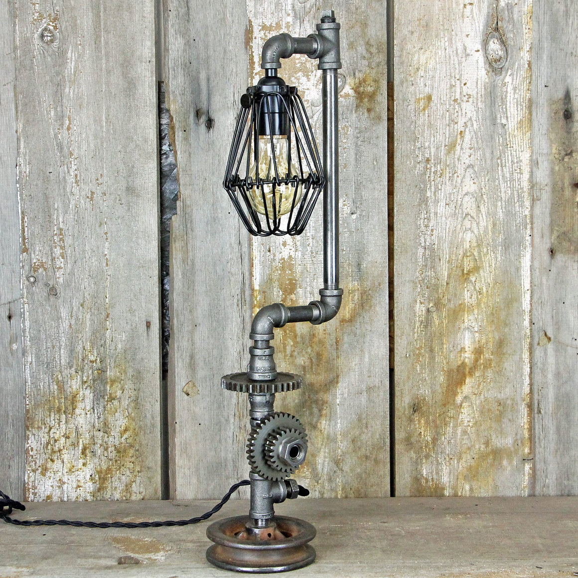 Steampunk Table Lamp with Industrial Gears #1945 - The Lighting Works