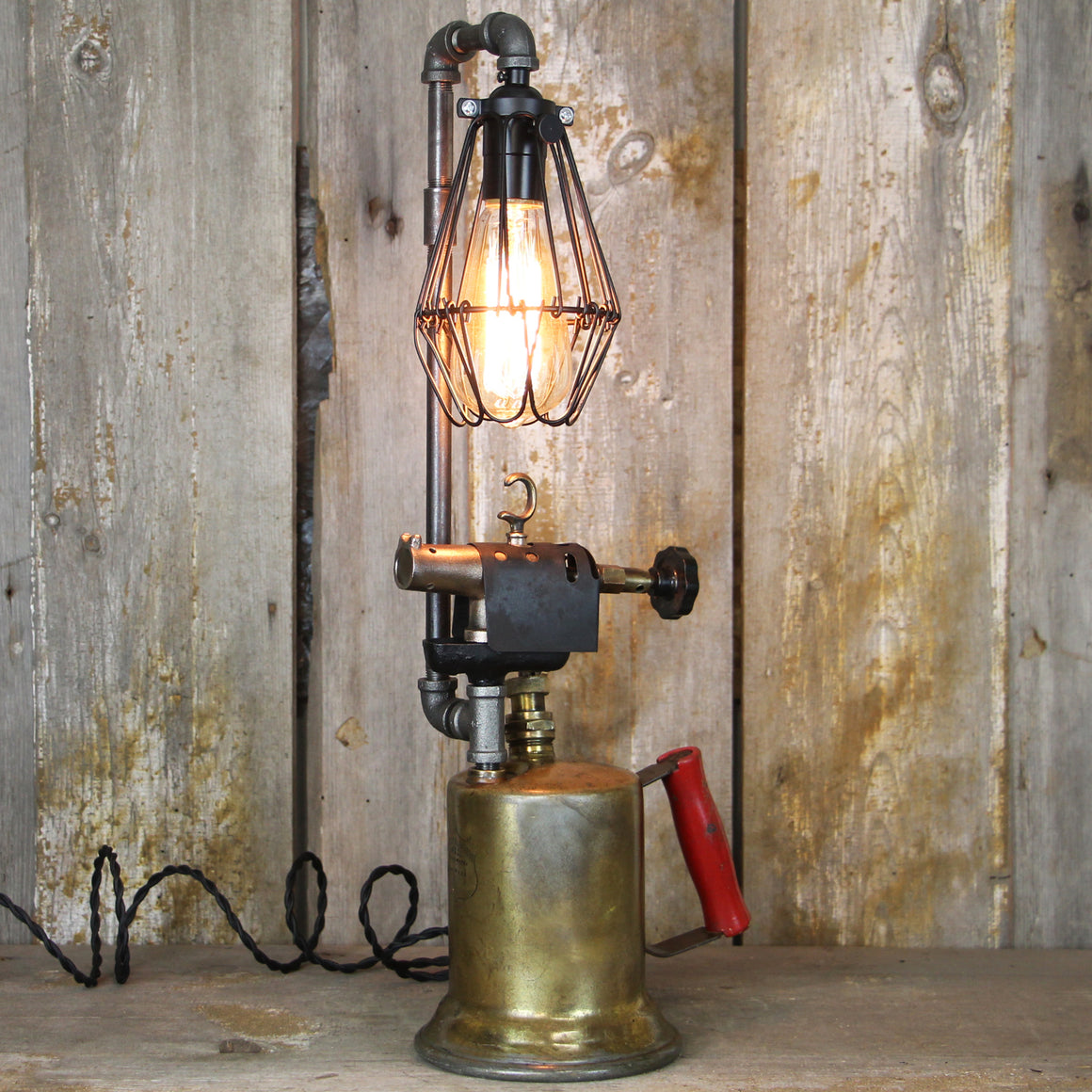 Steampunk Brass Torch Table Lamp - A Great piece of Steampunk lighting #1977 - The Lighting Works