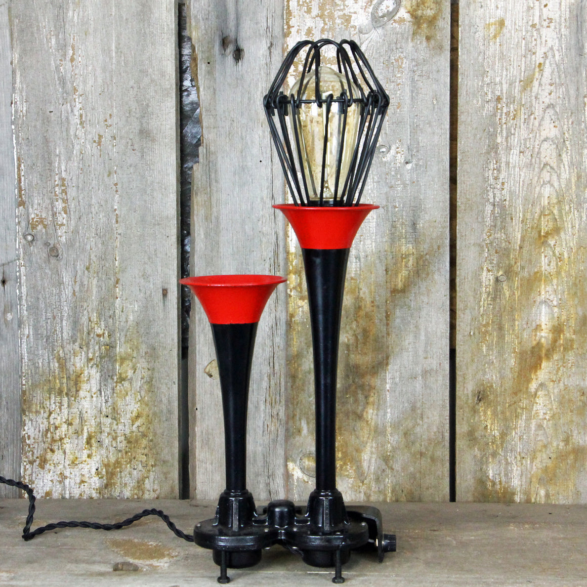 Vintage Car Air Horn Table Lamp Steampunk Industrial Desk Lamp - #283 - The Lighting Works