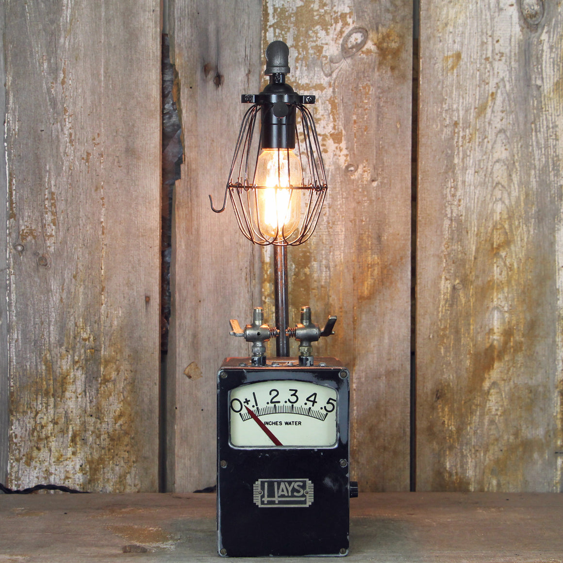 Steampunk Industrial Table Lamp with a Hays Meter Base #1912 - The Lighting Works