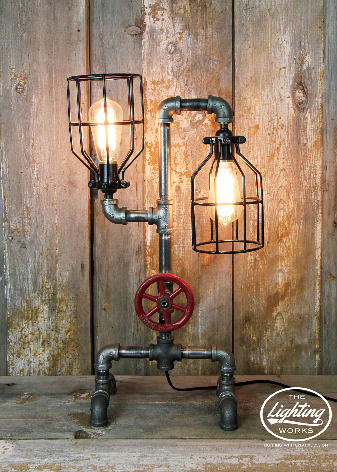 Steampunk Table Lamp with Two Edison Lights - The Lighting Works