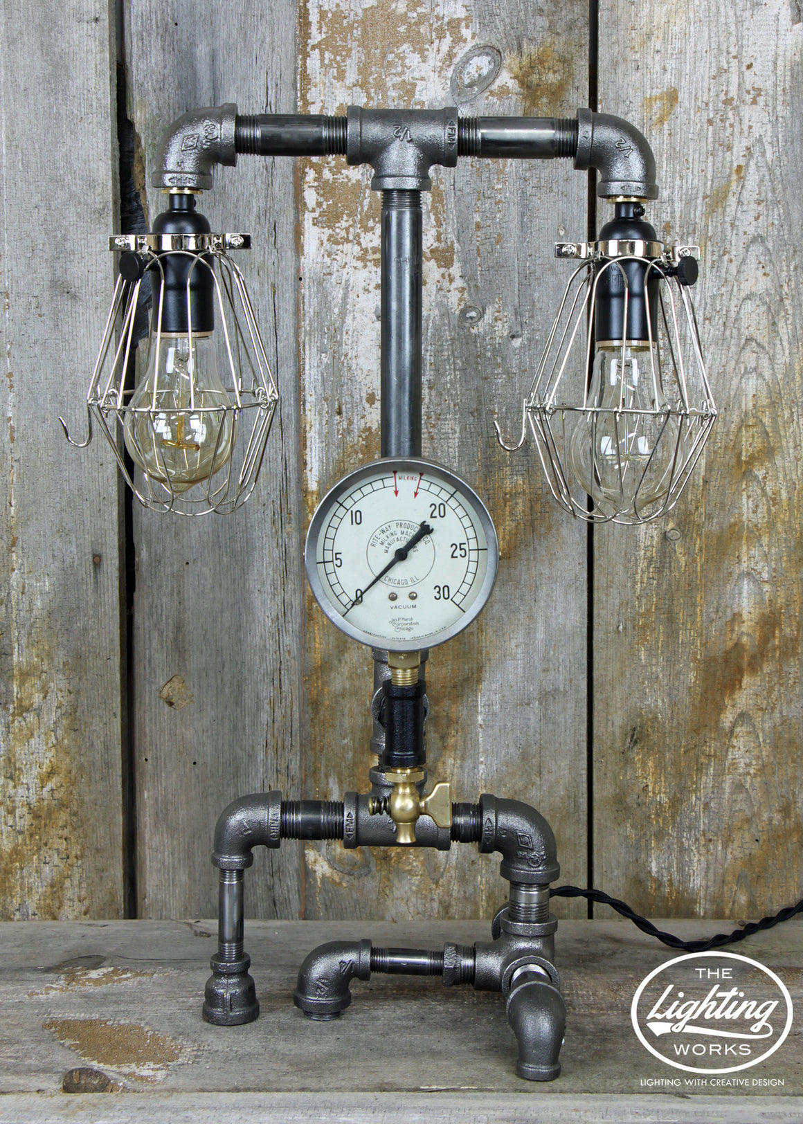 Steampunk Industrial Lamp with Dual Lights - The Lighting Works