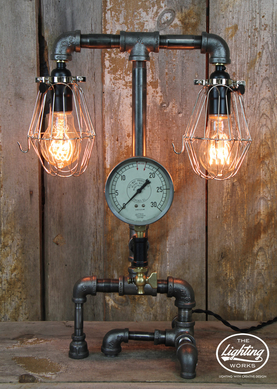 Steampunk Industrial Lamp with Dual Lights #50 - The Lighting Works