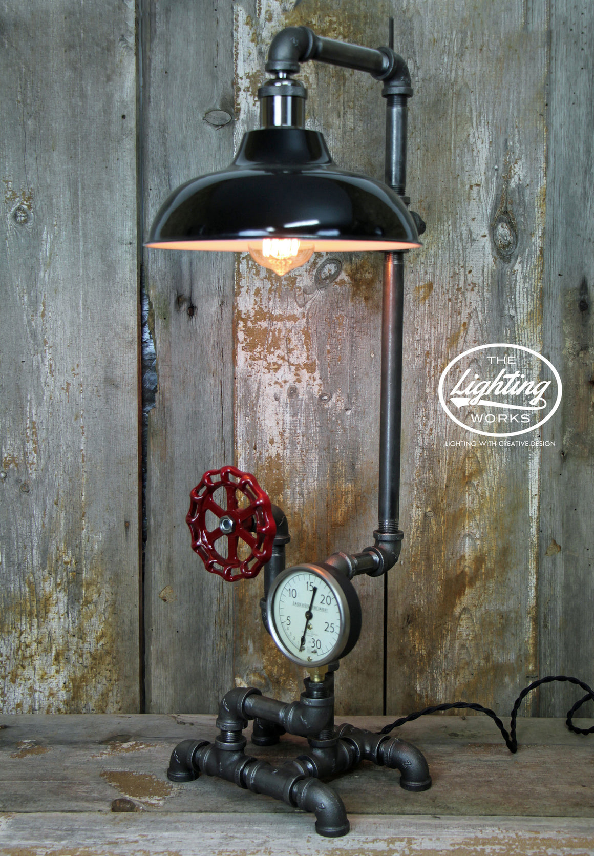 Industrial Table Lamp with a Vintage American Radiator Gauge Copper Shade - The Lighting Works