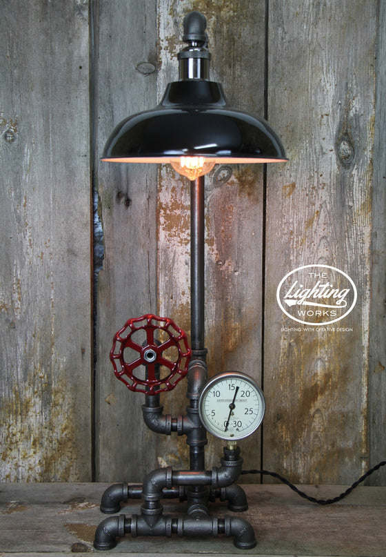 Industrial Table Lamp with a Vintage American Radiator Gauge - The Lighting Works