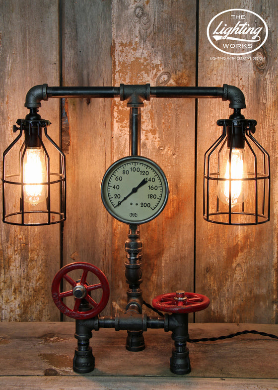 "Steampunk Industrial Lamp with 5"" Pressure Gauge - The Lighting Works"