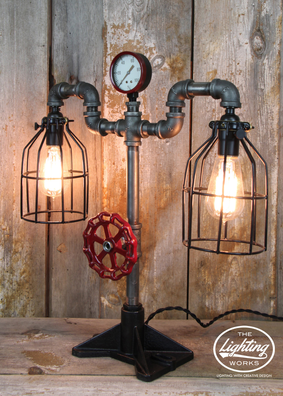 Steampunk Industrial Lamp with Dual Edison Lights - The Lighting Works