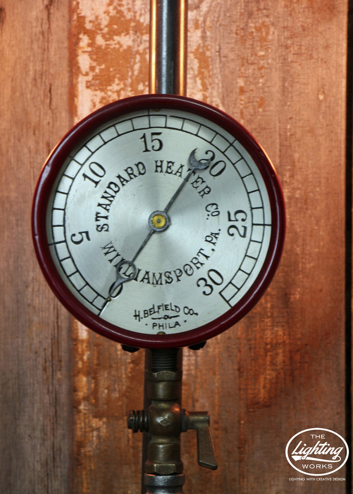 Steampunk Industrial Lamp with a Large Pressure Gauge - The Lighting Works