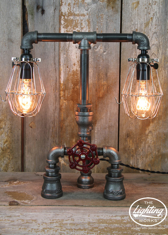 Industrial Table Lamp with Steel Cages & Edison Bulbs - The Lighting Works