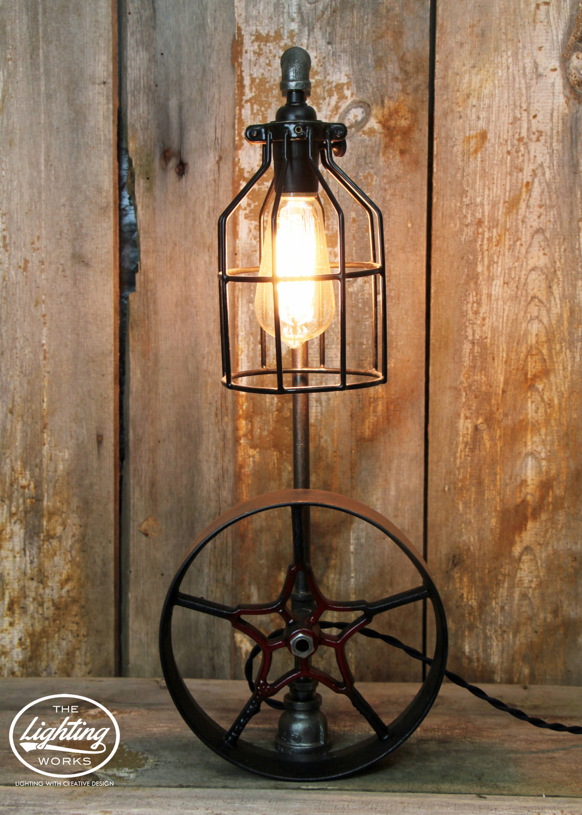 Steampunk Industrial Lamp with Steel Pulley - The Lighting Works